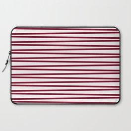 Dark red and white thin horizontal stripes Laptop Sleeve