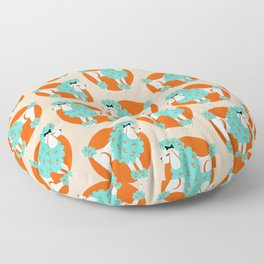 Poodle Puffs – Tangerine & Turquoise Floor Pillow