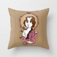 oscar wilde Throw Pillows featuring Oscar Wilde Holy Writer by roberto lanznaster