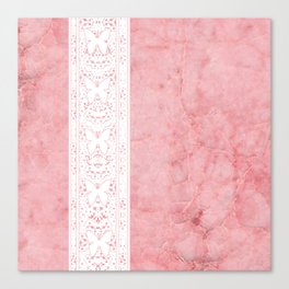 Delicate White Stripe Butterfly Pattern Pink Texure Design Canvas Print