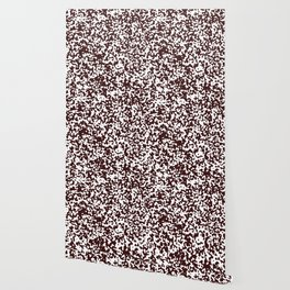 Small Spots - White and Dark Sienna Brown Wallpaper