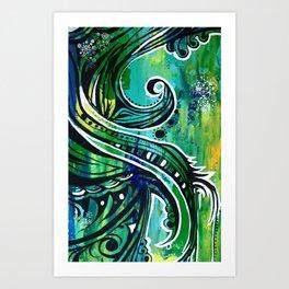 green and blue Art Print