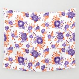 University football fan alumni clemson orange and purple floral flowers gifts Wall Tapestry
