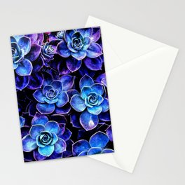 Succulent Garden Turquoise Purple Stationery Cards