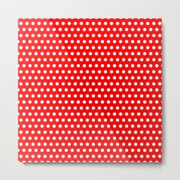 Polka / Dots - Red / White - Medium Metal Print