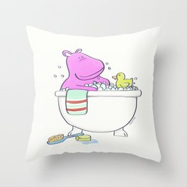 Bath Time Hippo Throw Pillow