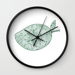 Green Mango Fruit Mandala Wall Clock