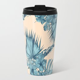 Island Retreat Hibiscus Palm Pastel Coral Teal Blue Travel Mug