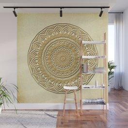 Golden Plate Mandala in 3D Wall Mural