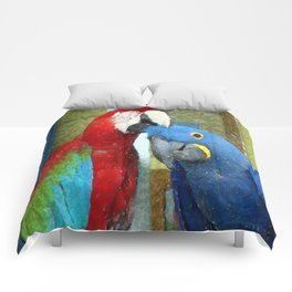 Red and Blue Macaws Crackle Print Comforters