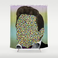 johnny cash Shower Curtains featuring CASH by FAMOUS WHEN DEAD