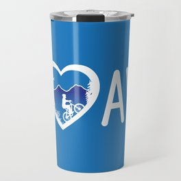 I Love Asheville Mountain Biking T-Shirt - White On Blue BG Travel Mug