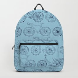 Bicycles on blue Backpack