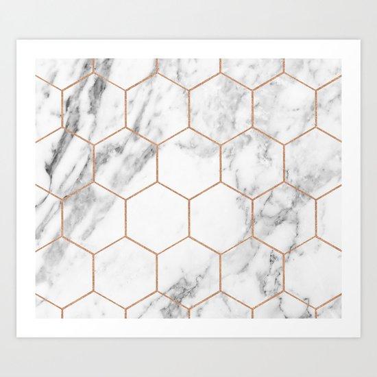 Rose gold marble hexagons honeycomb pattern Art Print
