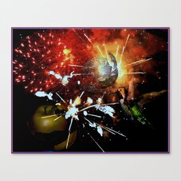 Fireworks explode in space Canvas Print