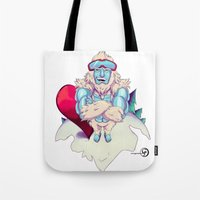 snowboard Tote Bags featuring Snowboard Yeti by garciarts