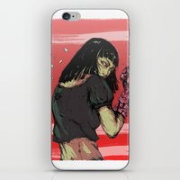 cyberpunk iPhone & iPod Skins featuring Ready to rumble - Cyberpunk girl by Printableink