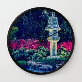 Oriental Garden with Birdhouse Statue Wall Clock