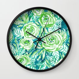 PHUNKY PHRESH Green Aqua Floral Wall Clock