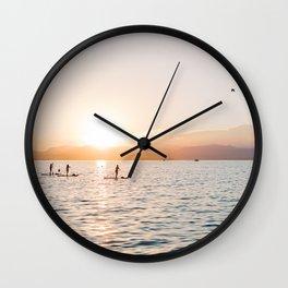 Lago di Garda   Sunset SUP at lake in Italy   Summer vibe travel photo wall art print Wall Clock