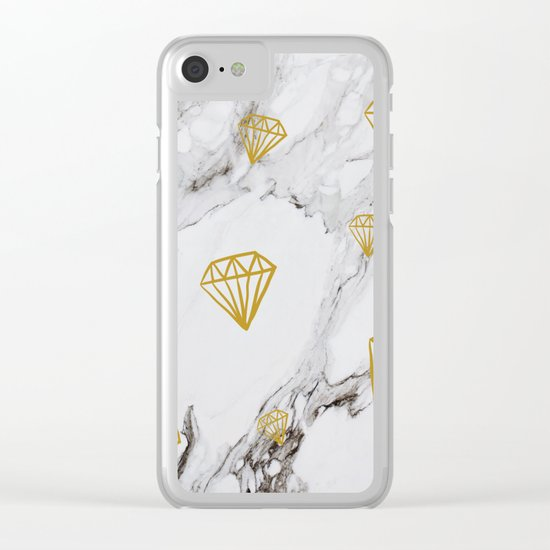 Gold diamonds on marble Clear iPhone Case