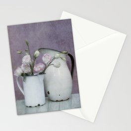Shabby French chic-vintage metal jugs with flowers Stationery Cards