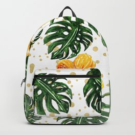 Tropical Leaves Hibiscus on a Gold Sand Background Backpack