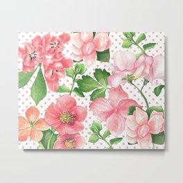 Pink Flowers on Pink Polka Dots Metal Print