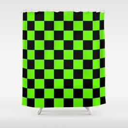 Checkered Pattern: Black & Slime Green Shower Curtain