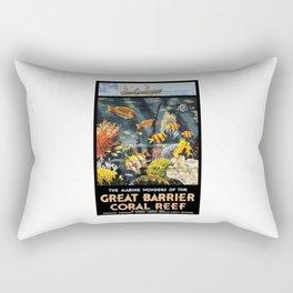 1933 Australia Great Barrier Coral Reef Travel Poster Rectangular Pillow