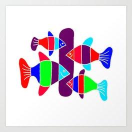 4 Fish - White lines Art Print