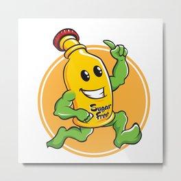Bottle Cartoon Mascot Character brawny Metal Print