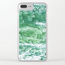 Sea green streaked watercolor pattern Clear iPhone Case