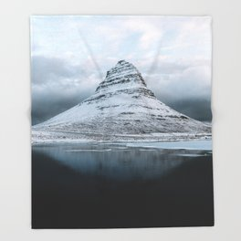 Kirkjufell Mountain in Iceland - Landscape Photography Throw Blanket