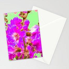 Fuchsia Purple Holly Hocks Pattern  Mint Green Flora Art Stationery Cards