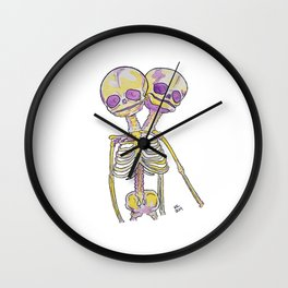 Conjoined Twins Siamese Twins Skeleton Watercolor Wall Clock