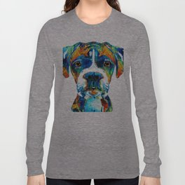 Colorful Boxer Dog Art By Sharon Cummings Long Sleeve T-shirt