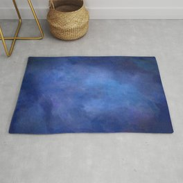 Abstract Soft Watercolor Gradient Ombre Blend 2 Deep Dark Blue and Light Blue Rug