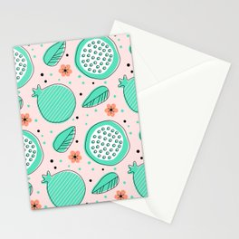 Summer Pomegranates in Mint and Blush Stationery Cards