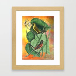 Orioles with Catalpa Tree, Natural History, Vintage Botanical Collage Framed Art Print