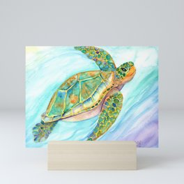 Swimming, Smiling Sea Turtle Mini Art Print