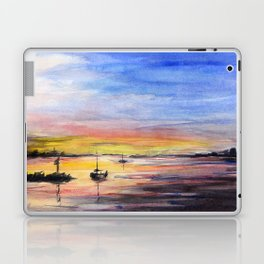 Sunset Watercolor Painting Landscape Art Laptop & iPad Skin