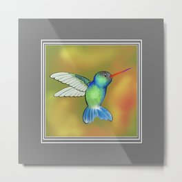 HummingBird Grey Metal Print