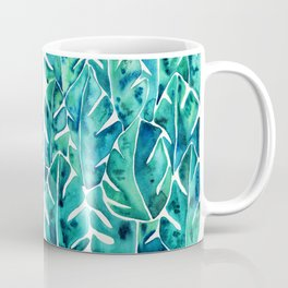 Split Leaf Philodendron – Teal Coffee Mug