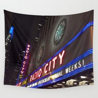 radio Wall Tapestries featuring Radio City Music Hall by Genevieve Moye