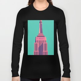 Empire State Building New York Art Deco - Green Long Sleeve T-shirt