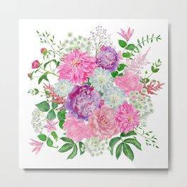 Pink bouquet of garden flowers Metal Print