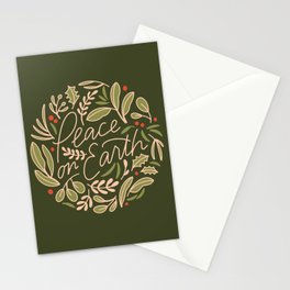 Peace on Earth - Holiday Art - Green Stationery Cards