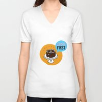 dessert V-neck T-shirts featuring Dessert FIRST. by Zsofia Mihaly