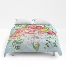 Bouquet of Watercolor on Blue Background Comforters